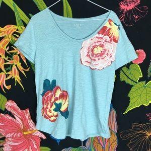 LOFT / Peonies Floral Print Tee